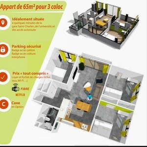 Appartement à partir du 26 Jun 2020 (Square national, Marseille)